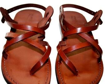 Brown Triple Leather Sandals For Men & Women - Handmade Unisex Sandals, Flip Flop Sandals, Jesus Sandals, Genuine Leather Sandals