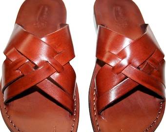 Brown Capri Leather Sandals For Men & Women - Handmade Sandals, Leather Flats, Leather Flip Flops, Unisex Sandals, Brown Leather Sandals