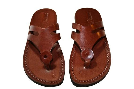 Brown Arrow Leather Sandals for Men & Women - Handmade Unisex Sandals, Flip Flop Sandals, Jesus Sandals, Genuine Leather Sandals