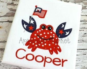 Machine Embroidery Design Applique Crab Flag Boy INSTANT DOWNLOAD