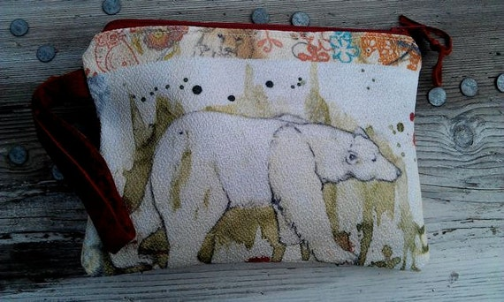 Polar Bear Eco Fabric Purse with Leather Wrist Strap
