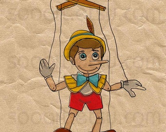pinocchio toys -Original Illustrate Drawing  A4 Print transfer on Pillows, t-shirts, scrapbook, lampshades  ETC.v