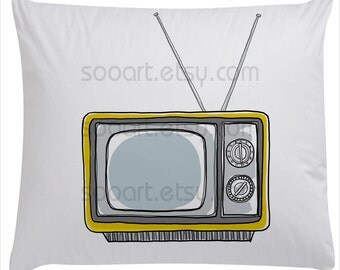 Yellow tv vintage -SooArt Size A4 Print on Pillows, t-shirts, scrapbook, lampshades  ETC.v
