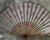 Vintage Folding Hand Fan - Hand Painted Floral - 1910