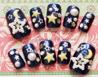 Galaxy, milky way, star nails, 3D nails, star, moon, navy, blue nail, kawaii nail, pearl, lolita accessory, lolita fashion, Harajuku, decora