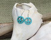 SALE! Peace Sign Beaded Earrings, Turquoise Howelite and Sterling Silver, Aqua Blue, Hippie, Boho, Gift Giving,Harleypaws, SRAJD