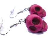 Pink Skull Earrings, Dark Pink Raspberry Magenta Magnesite Skull Earrings