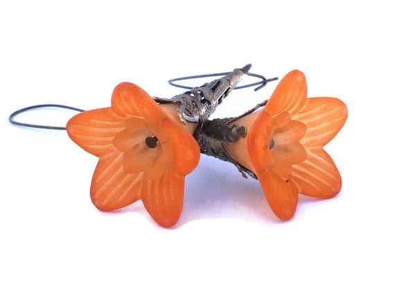 Orange Flower Earrings, Burnt Orange Lucite Trumpet Flower Earrings with Antique Bronze Findings & Kidney Earwires