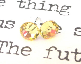 Jonquil yellow crystal studs, 7mm light yellow Swarovski crystal post earrings