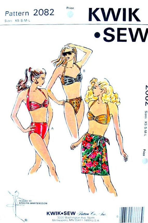 Two-Piece Swimsuit and Wrap Pareo Skirt Sizes XS to L Kwik Sew 2082