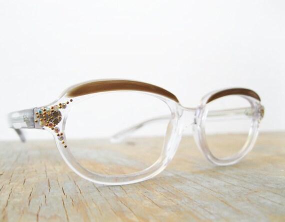 vintage rhinestone stars eyeglasses / 60s french translucent eyeglasses frame