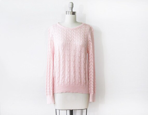 pink cable knit sweater / vintage 1980s pointelle sweater / pastel pullover knit sweater
