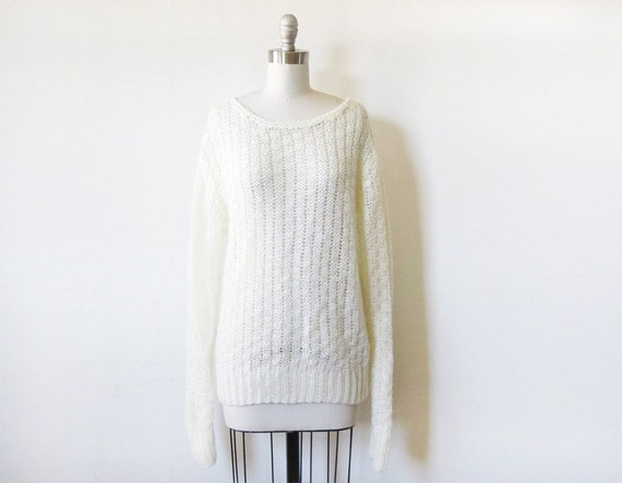 white knit sweater / 80s pullover sweater / large