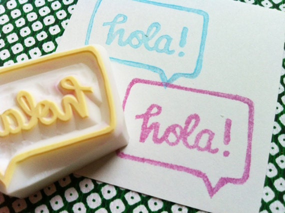 hola hand carved rubber stamp. hand lettered speech bubble message stamp. scrapbooking. gift wrapping. mail art. stamps by talktothesun
