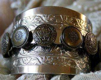 SALE - Vintage Silver Metal Etched Cuff Bracelet 9 Vintage Brass Buttons Silver Metal Setting