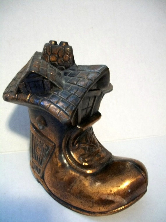 Vintage Boot Shoe Coin Bank Metal AS IS No  Bottom Cover