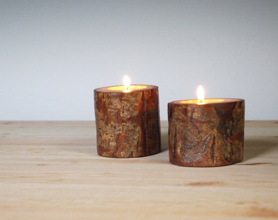 Candle Holders Rustic Wood Spiral Willow Tea Light Candle Holder Set Organic Eco Friendly Distressed Natural Wood