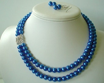 Two Strand Royal Blue Pearl with Rhinestone Square Pendant Beaded Necklace and Earring Set    Great Brides or Bridesmaid Gifts