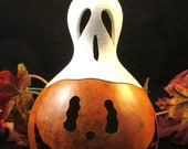 Halloween Gourd Pumpkin Candy Dish  and Ghost Lid Trick Or Treat Decoration