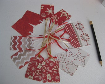 Christmas gift tags with ribbon, 12 pc.