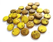 30 Yellow Coconut Beads Shell, flat round charms or pendants 15mm