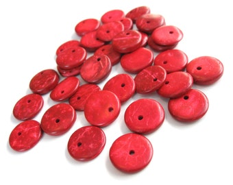 30 Cherry Red Coconut Beads Shell, flat round charms or pendants 15mm