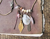Astarte - tribal charm cluster necklace - Kuchi charm - mother of pearl - 18k gold