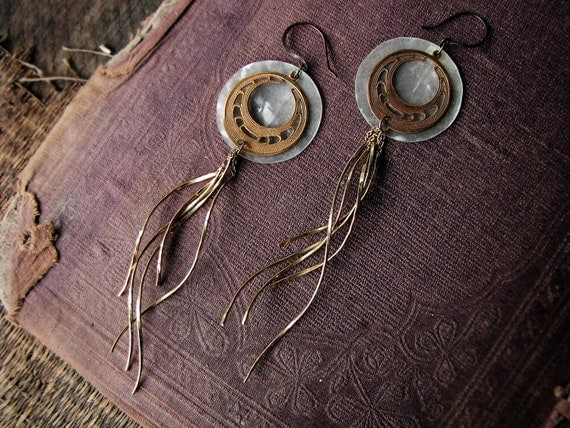 The great comet - long dangle earrings - reclaimed assemblage - gold twist charms - vintage stamping - tribal sci-fi