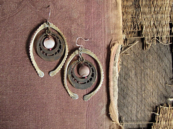 Moon Gate - rustic assemblage earrings - eco friendly - hammered metal - vintage stampings - tribal sci fi