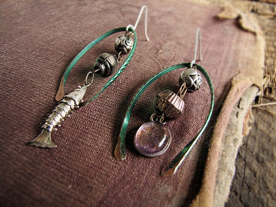 Puparak - artisan earrings - eco friendly assemblage - fish - mismatched