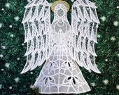 Joy Lace Angel Tree Topper With Gold Halo