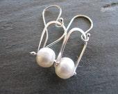 Pinned Pearl Earrings in Sterling Silver
