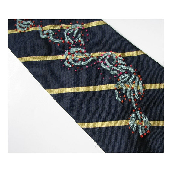 Blue Sea Coral Hand Embroidered Tie