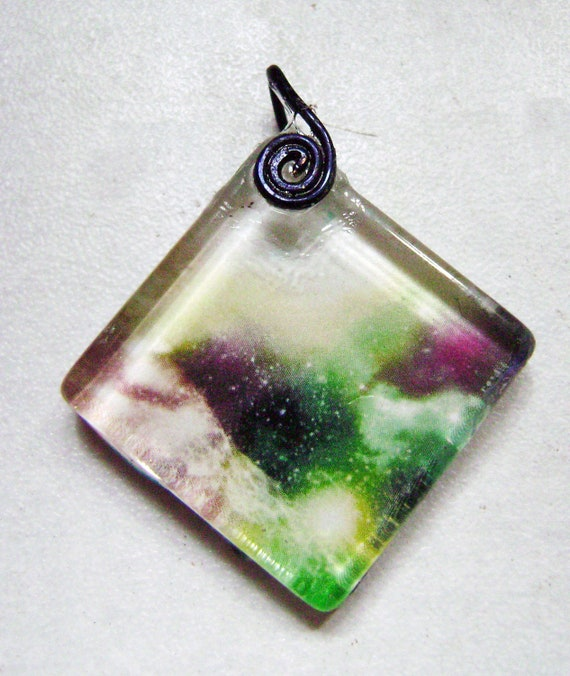 Inter-galactic Space Age Galaxy Glass Collage Pendant with Wire Wrapped Spiral Bail