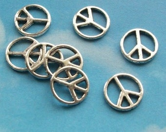 SALE - 40 peace sign connectors, silver tone, 10mm