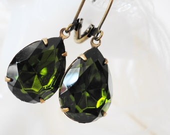 FREE SHIPPING Estate Earrings Olive Green Vintage Olivine Rhinestones Glass Jeweles Retro Old Hollywood Bridal Gift Girly Pear German