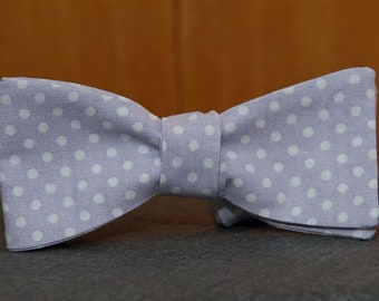 Lilac Purple with White Polka Dots  Bow Tie