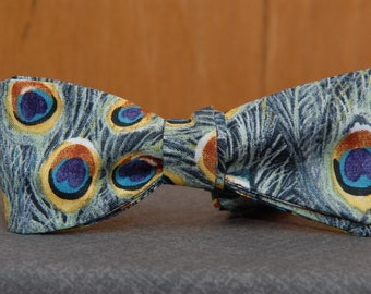 Peacock Love  Bow Tie