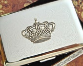 Silver Crown Business Card Case Vintage Inspired Gothic Victorian Style Nickel Silver Card Holder Or Small Cigarette Case Rounded Corners