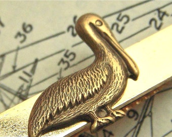 Pelican Tie Clip Nautical Victorian Steampunk Style Vintage Inspired Gold & Brass Mixed Metals Handcrafted Tie Bar