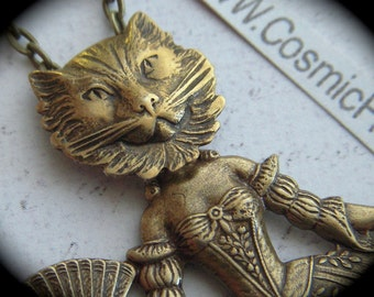 Cat Woman Necklace Gothic Victorian Antiqued Brass Cat Head Girl Necklace Dark Circus Sideshow Carnival Freak Girl Handcrafted Art Jewelry