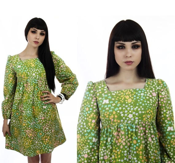 MOD Dolly Dress Vintage 60s 70s Green Floral Empire Waist Babydoll Mini Puffy Sleeves Puff Butterflies Strawberries XS S Small XSmall