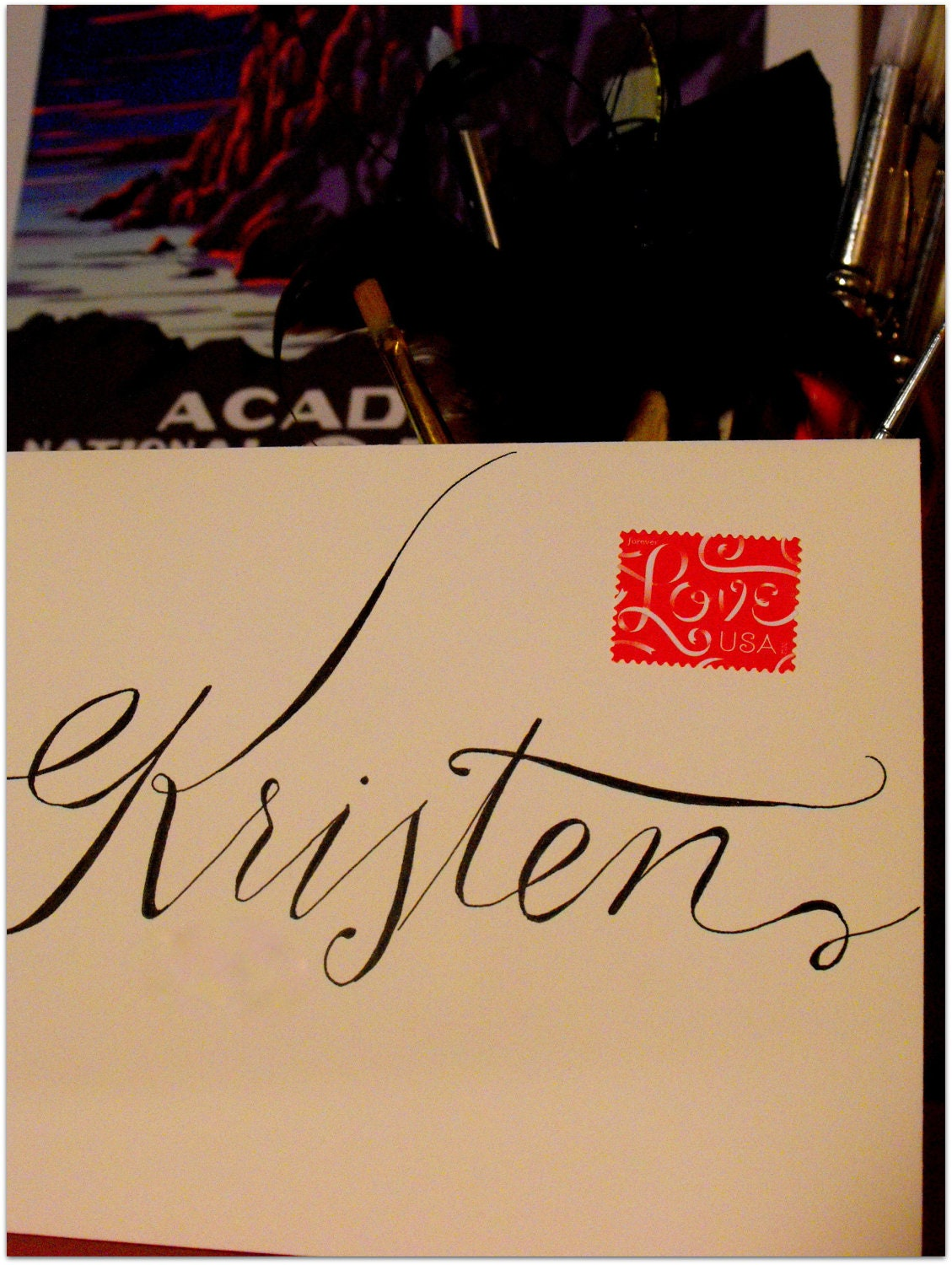 Items Similar To Calligraphy Kristen Font Outer Envelope