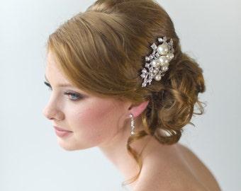 Pearl & Crystal Bridal Hair Comb, Wedding Hair Accessory, Brooch Style Hair Comb, Bridal Hair Accessory