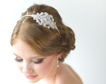 Bridal Headband,  Rhinestone Headband, Wedding Headpiece, Fascinator, Wedding Hair Accessory, Ribbon Bridal Headband