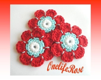 Crochet Flowers 3 pieces