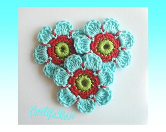 Crochet Flowers 3 pieces