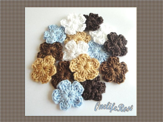Crochet Flowers Brown Camel Blue White