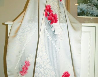 Silk Kimono Fabric Scarf/Shawl/Wrap..Cherry Blossoms/Roses/ Peony..Bridal/Wedding Gift..Ivory/Gray/Rose Red..Clutch available