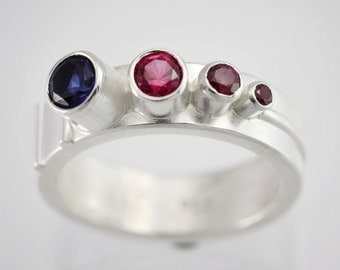 Mother's Ring- (4 Stone Sequence Ring w-Stripes) (Made to Order)